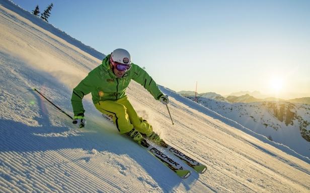 En piste avec les skis Fischer 2014...