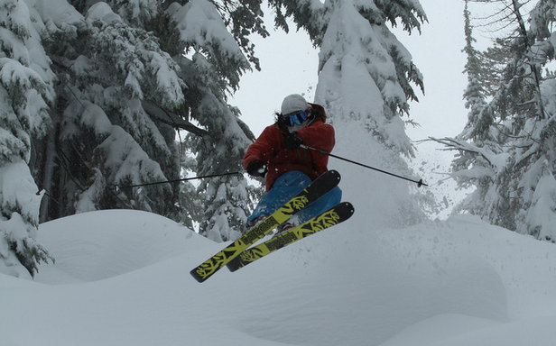 Skier Ty Dayberry catching air at Sierra. - ©Brian Walker and Sierra-at-Tahoe