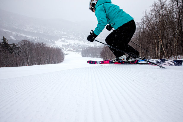 Sugarbush is very well groomed. Skier Mary Simmons. - ©Liam Doran
