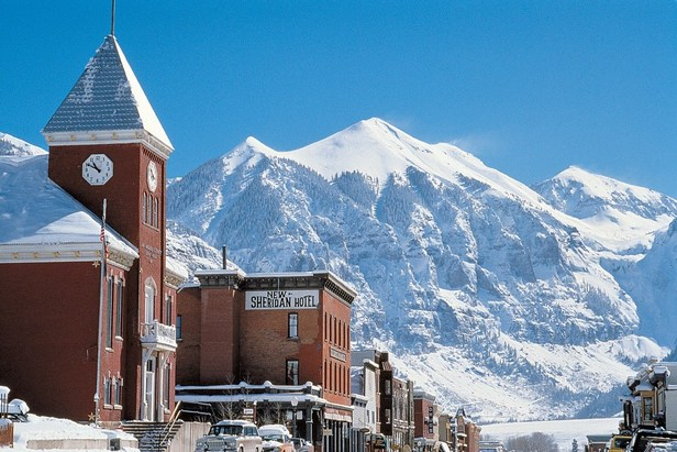 Downtown Telluride in the wintertime.