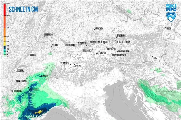 Schneevorhersage für den Alpenraum vom 24.01.2017 (6:30 Uhr) für die nächsten 96 Stunden - ©[c] ZAMG | Skiinfo