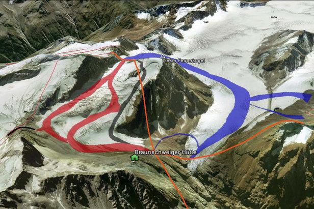 Roter dünner Strich = bestehende Lifte; oranger Strich = geplante Lifte; schwarzer Strich = geplanter Skitunnel; rote und blaue Fläche = geplante Pisten - ©DAV