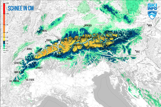 Snehová predpoveď pre Alpy z 15.4.2017 (6:30) na najbližších 72 hodín - ©[c] ZAMG / Skiinfo