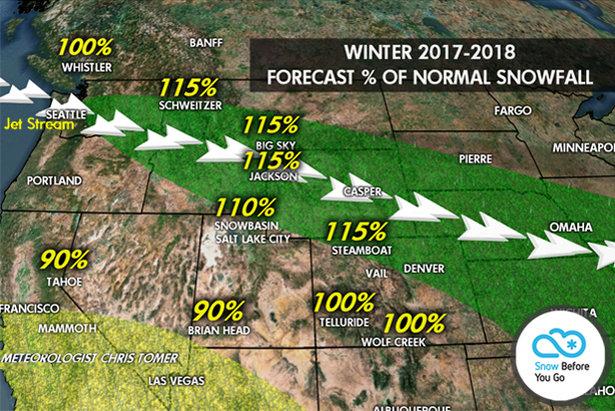 Percentage of normal snowfall by resort for the 2017/2018 ski season. - ©Meteorologist Chris Tomer