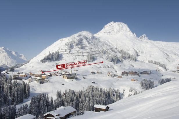 Trasa plánovanej novej lanovky Dorfbahn vo Warth am Arlberg - ©Warth-Schröcken