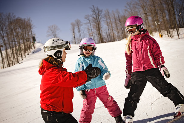 Kids learning to ski at Treetops, MI