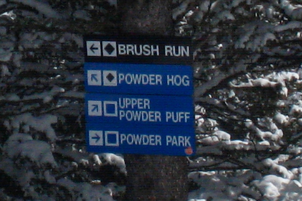 Trail signs at Bridger Bowl. Photo by Becky Lomax.