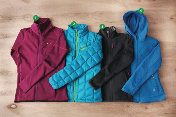 Women's Mid Layer: 1) Oakley PRS Stretch Fleece Jacket; 2) Marmot Safire Jacket; 3) Patagonia Piton Hybrid Jacket; 4) Spyder Stated Softshell Hybrid Light - ©Julia Vandenoever