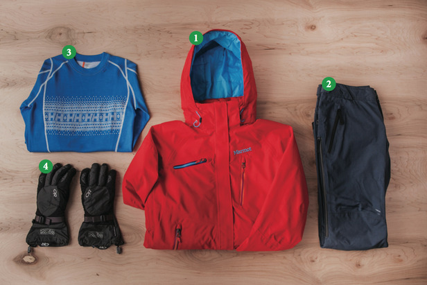 Women's Outfit #1: 1) Marmot Dawn Patrol; 2) Oakley Moving Pants; 3) Helly Hansen Warm Ice Crew; 4) Outdoor Research Ambit Gloves - ©Julia Vandenoever