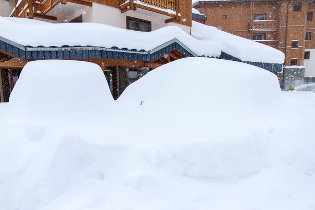 Cars covered in snow in Val Thorens. Dec. 4, 2012.