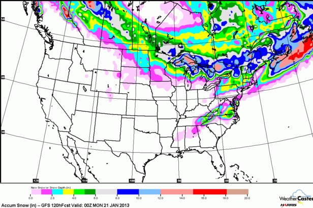 The five-day snow forecast shows none for the Rockies, so enjoy the sunny skies. - ©OpenSnow.com
