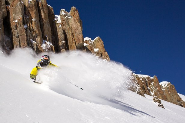 Aidan Sheahan sprays some powder at Irwin Cat Skiing. - ©Jeff Cricco