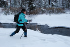 A skier tours Specimen Creek in Yellowstone. Photo by Becky Lomax. - A skier tours Specimen