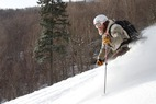 Kip Roberts, manager of Onion River Sports in Montpelier, made the most of the fresh snow in Vermont's Mad River Valley. - ©Brian Mohr / EmberPhoto