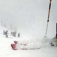 Getting ready to jump off a ridge in the terrain accessed by Monarch Cat Skiing. - ©Linda Guerrette