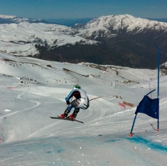 Ganong sends it off the first jump on the La Parva Super G course. Photo by Daron Rahlves.