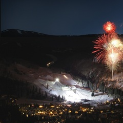 Fireworks light up the sky over Vail Mountain just steps away from the Red Lion. - ©Bob Winsett