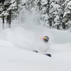Sean Pettit needs a snorkel at Island Lake Catskiing. - ©Mike McPhee