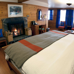 A fireplace room at Timberline Lodge, Oregon. Photo courtesy of Timberline Lodge.