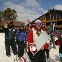 Family getting ready to hit the slopes of Trollhaugen, Wisconsin