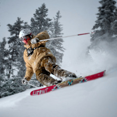A skier carves turns at Mt. Ashland. Photo by Paul Clark/Black and Red Photography.