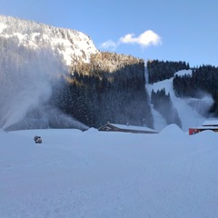 Snow cannons topping up the powder in Alleghe, Veneto. Dec. 8, 2012