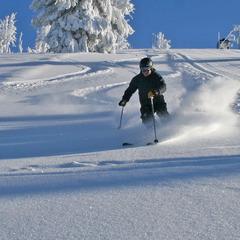 Early season turns at Brundage. Photo courtesy of Brundage Mountain Resort.