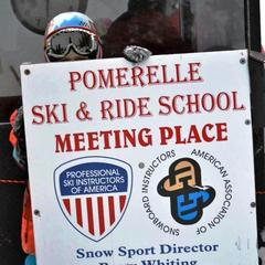Ski school meeting place sign at Pomerelle. Photo courtesy of Pomerelle Ski Area.