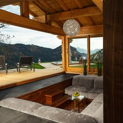 Grande Corniche glass sauna and conversation pit, Les Gets.