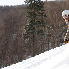 Kip Roberts, manager of Onion River Sports in Montpelier, made the most of the fresh snow in Vermont's Mad River Valley.