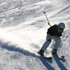 Skiing fast at Tyrol Basin.