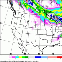 The five-day snow forecast shows none for the Rockies, so enjoy the sunny skies.