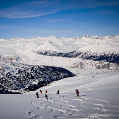 Group turns at Tyax Lodge Heli-Skiing.