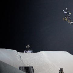 Justin Hoyer competes in the Snowmobile Freestyle final.