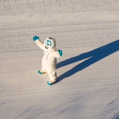 Sunday River mascot, Eddy the Yeti, sees his shadow and declares Six Weeks of Savings. Photo Courtesy of Sunday River.