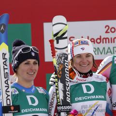 Nadia Fanchini, Marion Rolland, Maria Hoefl-Riesch  / Descente dames, Schladming 2013 - ©Alexis Boichard, Agence Zoom