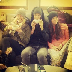 Olenick enjoys some downtime at Cuppa Joe in Breckenridge with teammates Maude Raymond and Keri Herman. - ©Meg Olenick