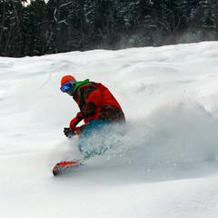 Surfing the freshies at Attitash.