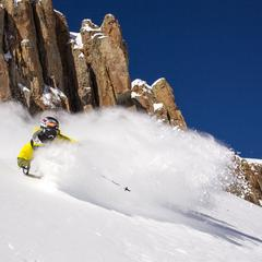 Aidan Sheahan sprays some powder at Irwin Cat Skiing.