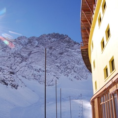 Early morning in Portillo, looking up toward the Plateau side of the ski area.