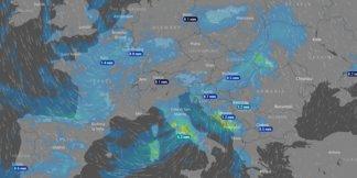 Animovaná mapa predpovedá sneženie na 10 dní dopredu ©Windy.com