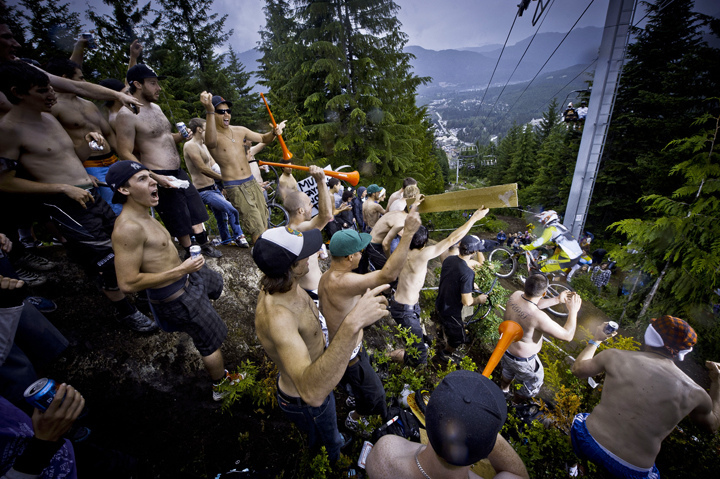 "Head to Whistler Crankworx early to get a spot next to ""Heckler's Rock"" for the Canadian Open DH. - © Jorgenson"