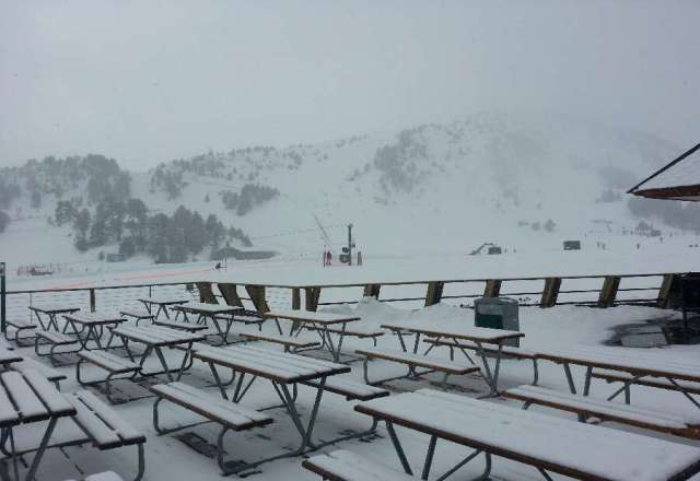 Fresh snowfall this morning ,Pistes in great shape but poor visibility at times