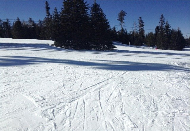 icy but beautiful day!!! had so much fun!!! be back tomorrow(: slush and ice but clean moguls on super