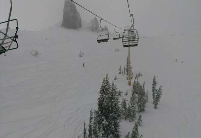 awesome pow day. On the wall and thunder saddle there was at least a foot. turned pretty wet by noon, but from 9-11am it was winter.