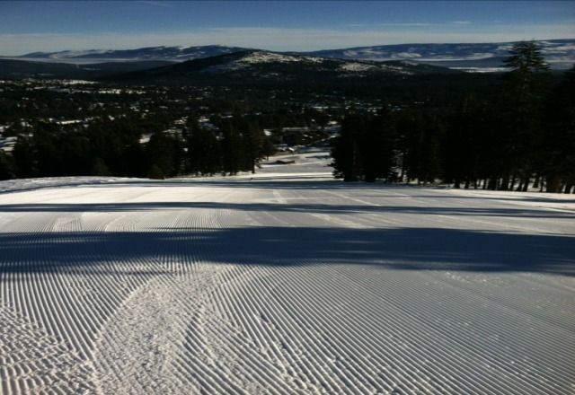 Perfect conditions. They are opening a bigger terrain park under Eagle Rock chair, and they have a slalom on Donner's Face. Great job Tahoe Donner!