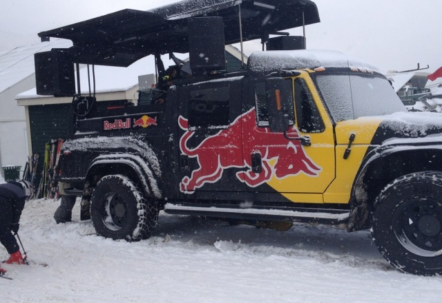 Red Bull truck on site yesterday. it is a pop-up DJ booth.