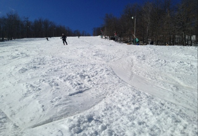 Nice day yesterday (Friday). Great coverage on all trails-a little thick and clumpy but not wet or mushy. Great skiing for Whitetail.