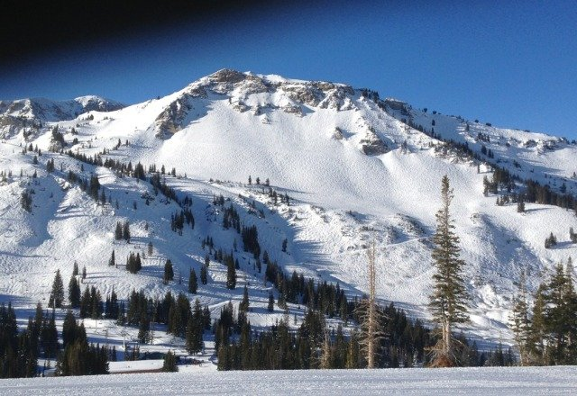 bluebird day at alta. could use some fresh but plenty of good terrain open.