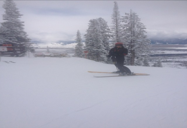 Yesterday was as good as it gets! Lots of powder knee-deep in the trees! Visibility not perfect but who cares with lots of snow even on groomed runs. Bretty Loves Jackson Hole!